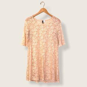Sheer Blush Pink Lace T-Shirt Dress